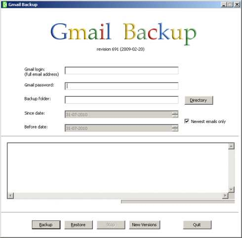 Respaldo de correos Gmail con Gmail Backup Descargas Software