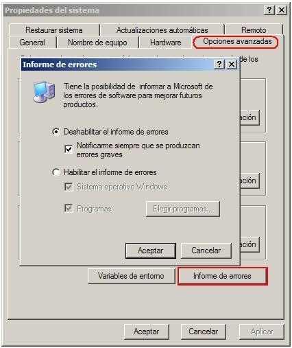 deshabilitar informe de errores Deshabilitar, quitar, sacar envío de informe de errores Windows Xp
