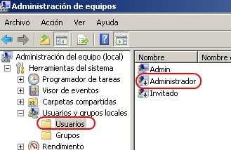 Habilitando el usuario administrador 2