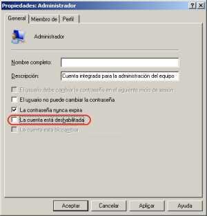 Habilitando el usuario administrador 3