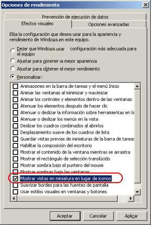 Mostrar vistas en miniaturas en Windows 7