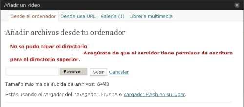 No se pudo crear el directorio… Error WordPress Cómo se hace