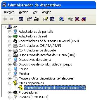 No se encuentra driver de la controladora simple de comunicaciones PCI Instalar controladora simple de comunicaciones PCI en Windows XP