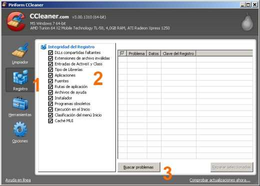 Reparar registro de Windows con CCleaner seleccionado opciones Reparar registro de Windows con CCleaner