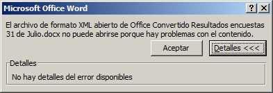 Error al abrir documento Word: El archivo de formato XML abierto de Office... Cómo se hace